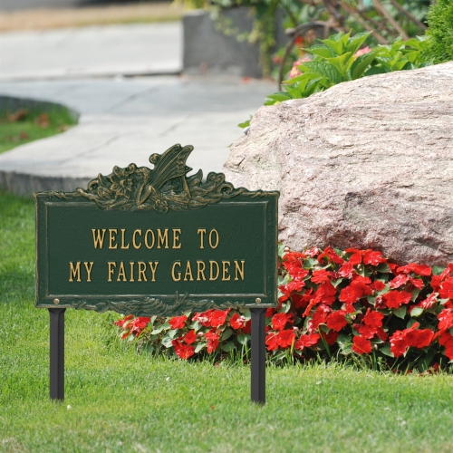 Welcome to My Fairy Lawn Plaque Green & Gold 3
