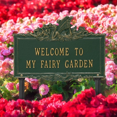 Welcome to My Fairy Lawn Plaque Green & Gold  4