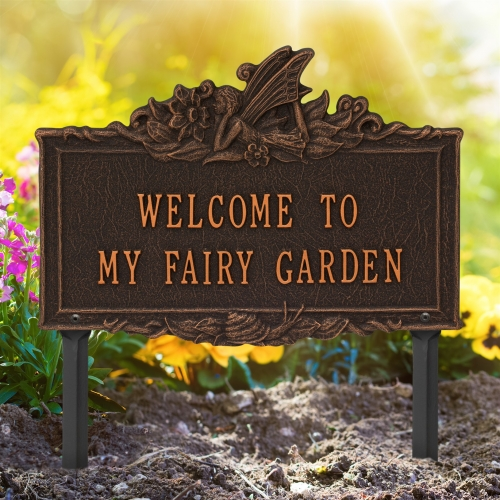 Welcome to My Fairy Lawn Plaque Oil-Rubbed Bronze 2