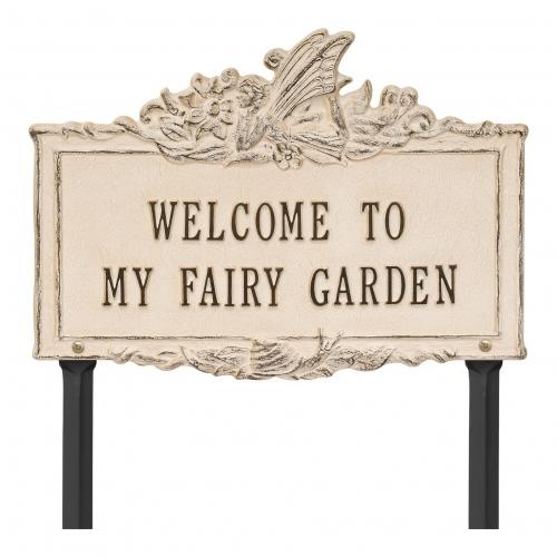Welcome to My Fairy Lawn Plaque Limestone & Dark Bronze