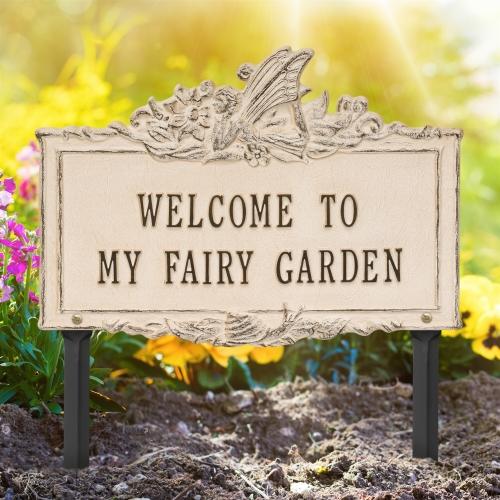 Welcome to My Fairy Lawn Plaque Limestone & Dark Bronze 2