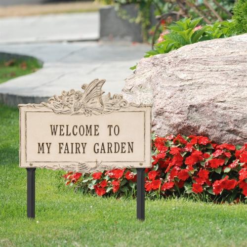 Welcome to My Fairy Lawn Plaque Limestone & Dark Bronze 3