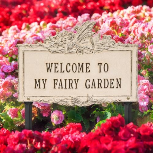 Welcome to My Fairy Lawn Plaque Limestone & Dark Bronze 4