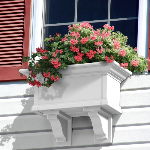 4822-W-Yorkshire 2' Window Box White-Decorative with Brackets-LS(2)