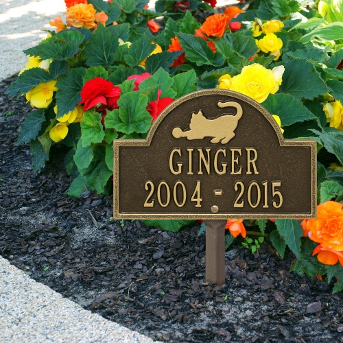 Antique Brass Cat Arch Lawn Memorial Marker  on the Beautiful Planted Sidewalk