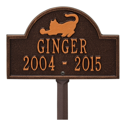 Antique Copper Cat Arch Lawn Memorial Marker on Stake