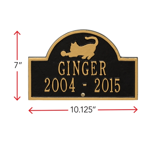 Black & Gold Cat Arch Lawn Memorial Marker