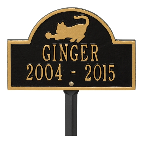 Black & Gold Cat Arch Lawn Memorial Marker on Stake