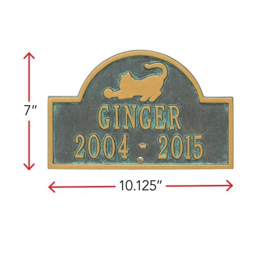 Bronze Verdigris Cat Arch Lawn Memorial Marker