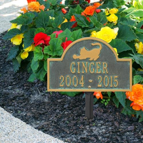 Bronze Verdigris Cat Arch Lawn Memorial Marker on Side Walk