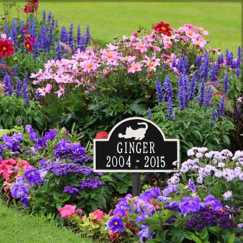 Black & White Cat Arch Lawn Memorial Marker in Garden