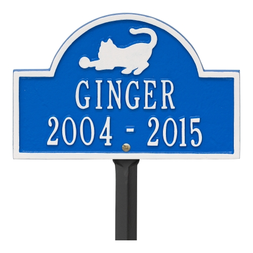 Dazzling Blue & White Cat Arch Lawn Memorial Marker on Stake