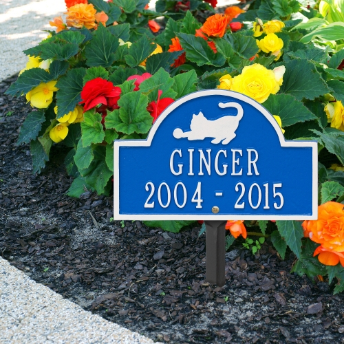 Dazzling Blue & White Cat Arch Lawn Memorial Marker on side Walk