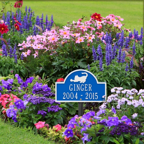 Dazzling Blue & White Cat Arch Lawn Memorial Marker in Garden