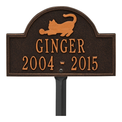 Oil-Rubbed Bronze Cat Arch Lawn Memorial Marker on Stake