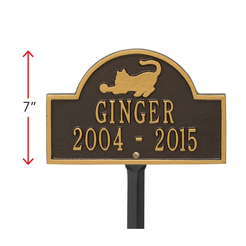 Bronze & Gold Cat Arch Lawn Memorial Marker