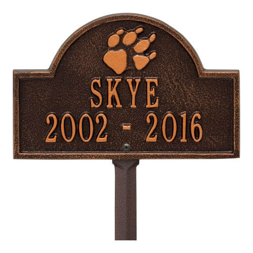 Antique Copper Dog Paw Arch Lawn Memorial Marker on Yard Stake