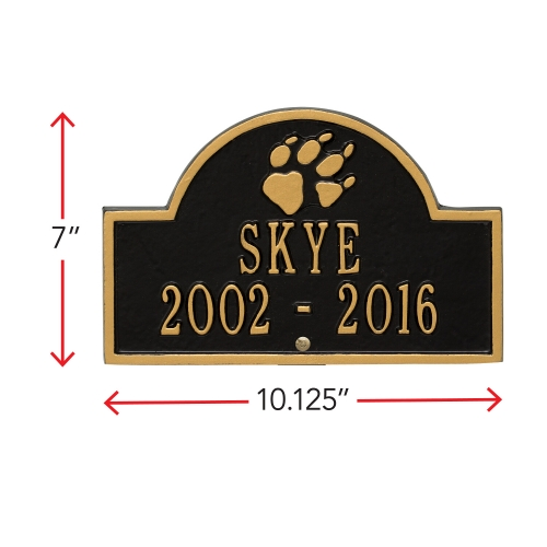 Black & Gold Dog Paw Arch Lawn Memorial Marker with Dimension