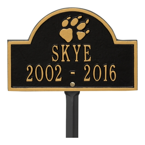 Black & Gold Dog Paw Arch Lawn Memorial Marker on a Yard Stake