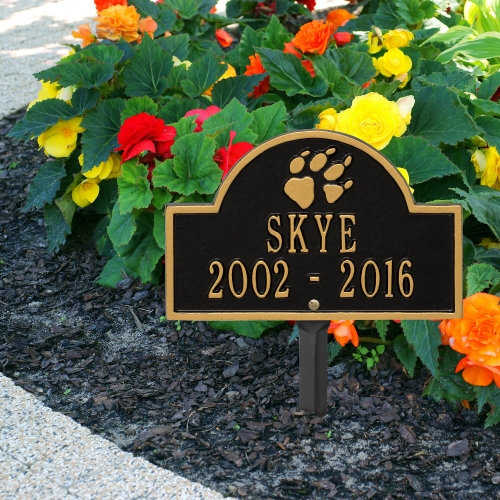 Black & Gold Dog Paw Arch Lawn Memorial Marker on Sidewalk