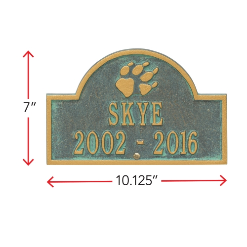 Bronze Verdigris Dog Paw Arch Lawn Memorial Marker with Dimensions