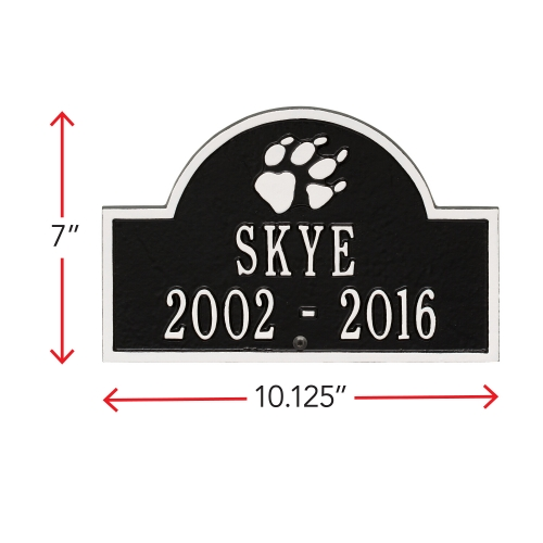 Black & White Dog Paw Arch Lawn Memorial Marker wih Dimensions