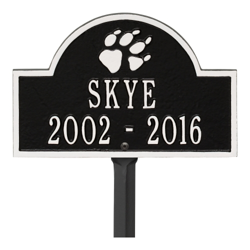Black & White Dog Paw Arch Lawn Memorial Marker on a Yard Stake