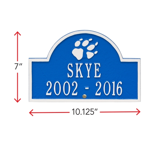 Dazzling Blue & White Dog Paw Arch Lawn Memorial Marker with Dimensions