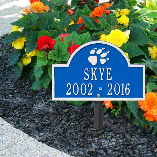 Dazzling Blue & White Dog Paw Arch Lawn Memorial Marker on the  Sidewalk
