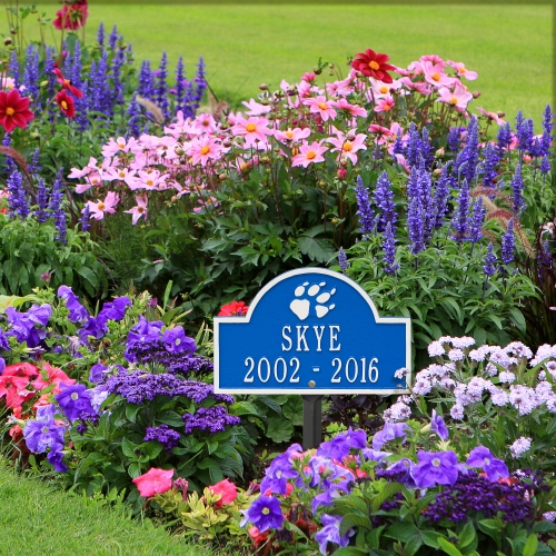 Dazzling Blue & White Dog Paw Arch Lawn Memorial Marker in the Garden