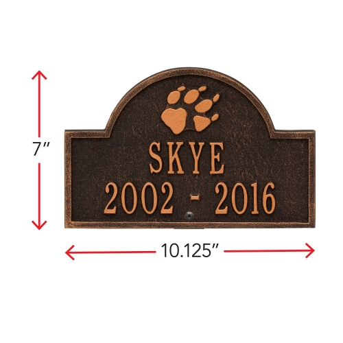 Oil-Rubbed Bronze Dog Paw Arch Lawn Memorial Marker with Dimensions